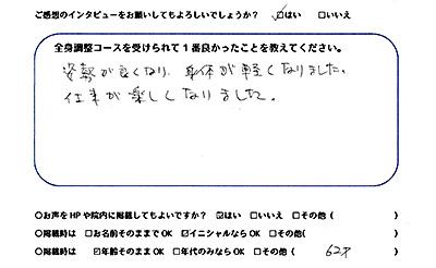 千葉県柏市 柏の葉キャンパス 猫背矯正・姿勢矯正専門 カラダケア整体院 Kさまご感想