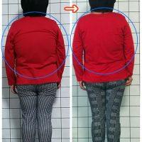 肋骨・胸郭の歪みが日常化すると、横に広がり背中の丸みが強くなります。